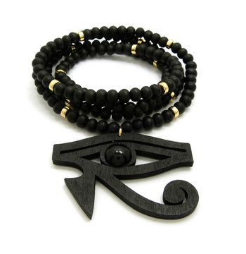 Eye Of Horus Wooden Gold Accents Beaded African Egyptian Chain