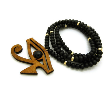 Eye Of Ra Wooden Gold Accents Beaded African Egyptian Chain