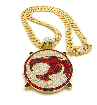 14k Gold ThunderCats Iced Out Cuban Link Chain Pendant