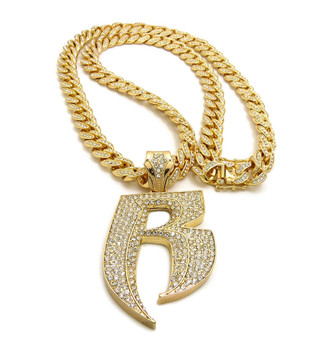 14k Gold Double R Ruff Ryders Hip Hop Cuban Link Pendant