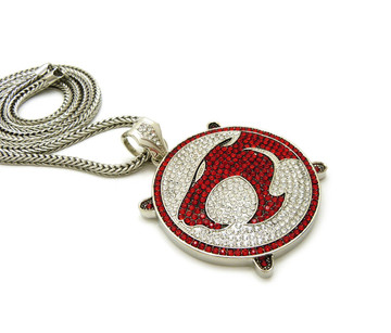 .925 Silver ThunderCats Iced Out Franco Link Chain Pendant