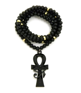 Ancient African Ankh Eye Of Heru Cross Accented Chain Pendant