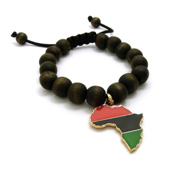 Africa Continent 14k Gold Accented Wooden Bracelet