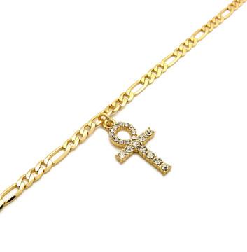 14k Gold Simulated Diamond Ankh Cross Ankle Bracelet