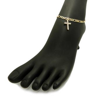14k Gold Simulated Diamond Cross Ankle Bracelet