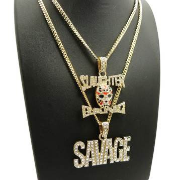 14k Gold 21 Savage Inspired Slaughter Gang Hip Hop Chain