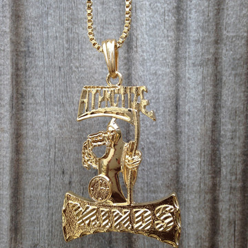 14k Gold Hypnotize Minds Grimm Reaper Hip Hop Pendant