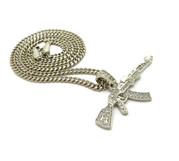 .925 Sterling Silver Ak 47 Simulated Diamond Chain Pendant