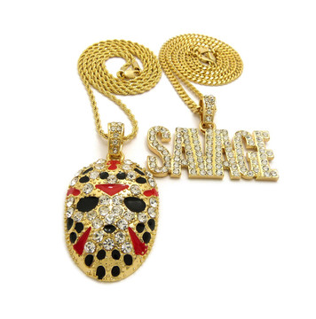 14k Gold Savage Hockey Mask Pendant Hip Hop Chain