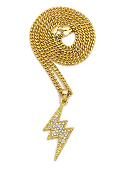 14k Gold Diamond Cz Lightning Bolt Hip Hop Cuban Chain Pendant