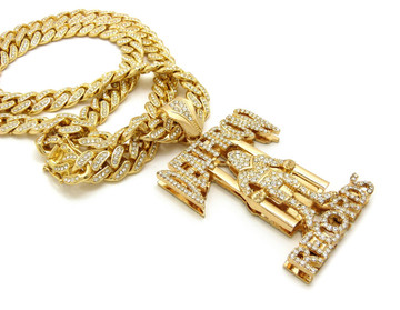14k Gold Simulated Diamond Iced Out Cuban Link Death Row Pendant
