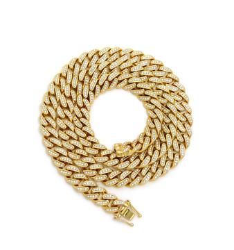14k Gold Simulated Diamond 12mm 30Inch Cuban Link Chain