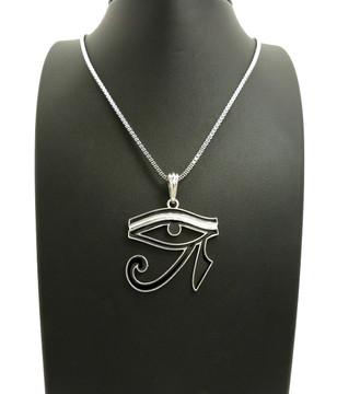 Eye Of Ra Black Enameled Micro Pendant .925 Silver