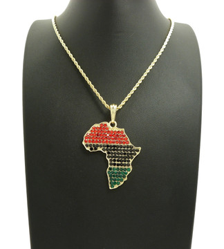 14k Gold Multi Colored Simulated Diamond Africa Pendant