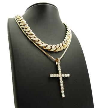 Cuban Link Iced Cross