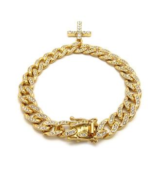 14k Gold Simulated Diamond Cross Cuban Link Bracelet