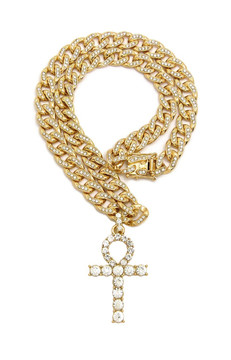 Iced Out Simulated Diamond Ankh Cross Cuban Link Chain Pendant