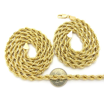 """14k Gold Hip Hop 7mm 24"""" & 30 Rope Chain Necklaces"""