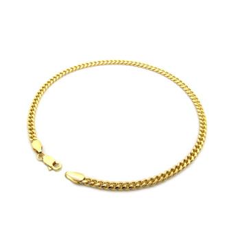 14k Gold 3mm Feminine Cuban Link Ankle Bracelet