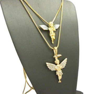 14k Gold Crushed Ice Singing Praying Halo Angel Pendant Set