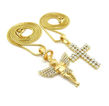 iced out angel pendant
