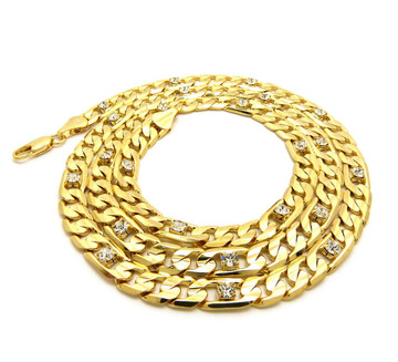 14k Gold 7mm 30 Inch Figaro Link Iced Out Chain Necklace