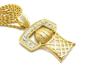 Hip Hop 14k Gold Basketball Hoop Backboard CZ Diamond Chain