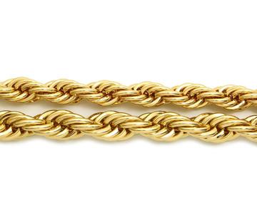14k Gold Hip Hop 10mm 12mm Rope Link Chain Necklace Set