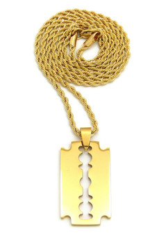 14k Gold Hip Hop Razor Blade Pendant 4