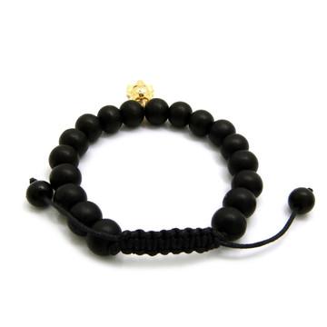 Anubis Egyptian African 14k Gold Wooden Bead Bracelet