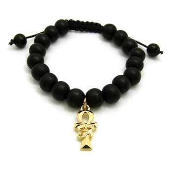 14k Gold Ankh Cross Eye Of Ra Egyptian African Wooden Bead Bracelet
