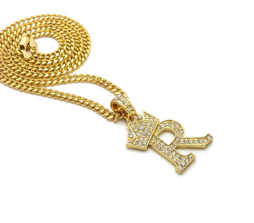 14k Gold Crowned Initial R Simulated Diamond Chain Pendant
