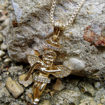 Gold Simulated Diamond Angel Pendant