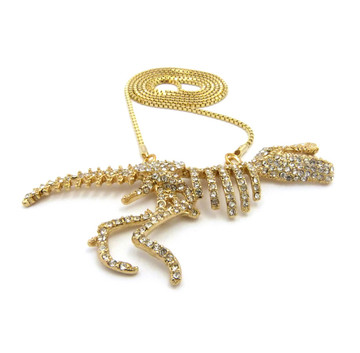 14k Gold Iced Out Simulated Diamond T-Rex Chain Pendant