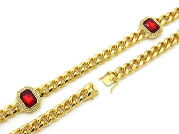 Gemstone Cuban Link Chain