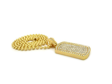 Iced Out Simulated Diamond Hip Hop Dog Tag Moon Cut Ball Chain Pendant