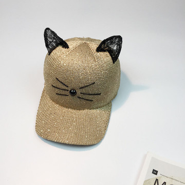 Pussy Cat Ears Pattern Sequin Womens Snapback Sun Hat
