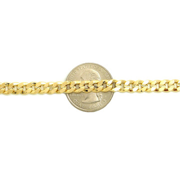 6mm 10 Inch Concave Cuban Chain Anklet 14k Gold