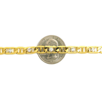 14k Gold 6mm 10 Inch Marina Link Chain Ankle Bracelet
