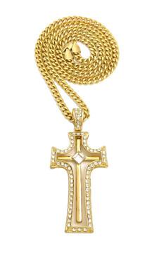 14k Gold Art Deco Simulated Diamond Movable Double Cross