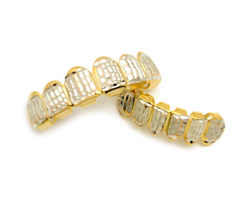 14k Gold Diamond Cut Custom Top and Bottom 6 Teeth Iced Out Look Grillz