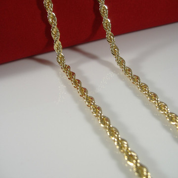 4mm 24 Inch Hip Hop Gold Diamond Cut Rope Chain