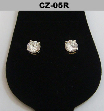 Silver 5mm Round Cut Diamond Cz Iced Out Earrings