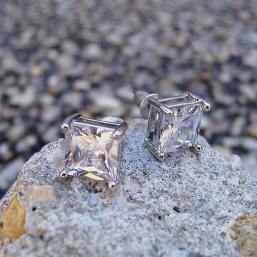 .925 Silver 8mm Princess Cut Earrings