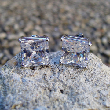 .925 Sterling Silver 9mm Princess Cut Iced Out Simulated Diamond Earrings