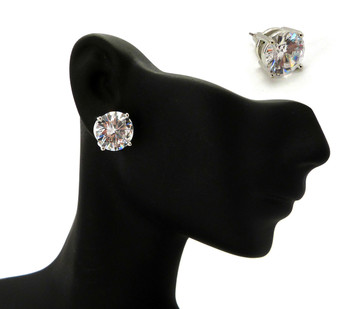12mm Round Cut Iced Out Diamond Cz Earrings