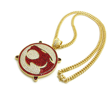14k Gold Simulated Diamond Stone ThunderCats Cuban Link Pendant