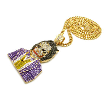 Iced Out Micro-Pave Stone The Joker Gold Pendant