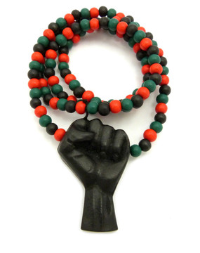 "Black Power Fist Wooden Hip Hop Pendant 32"" Colored Beaded Chain"