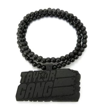 Taylor Gang Wooden Hip Hop Wood Pendant Black